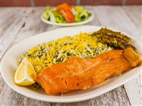Sabzi Polo With Salmon at Caspian House of Kabob, Gaithersburg