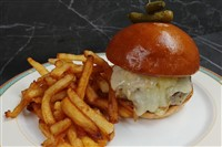 Le French Onion Melt Burger at La Ferme Restaurant, Chevy Chase
