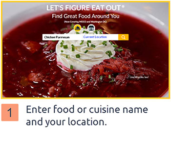 Select search type (by food or by restaurant), enter zip code or few letters of city name and then choose the right city from dropdown, then enter food/cuisine name and hit search.