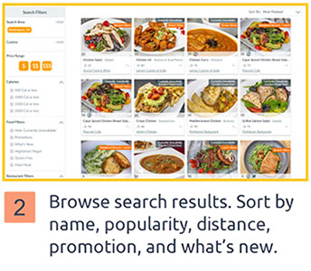 Browse search results. Sort by name, popularity, distance, promotion, and what's new