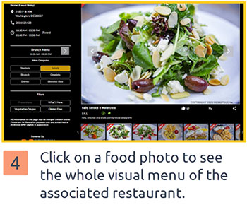 Click on each food photo to visit the associated restaurant page – photo strip view, to browse the visual menu