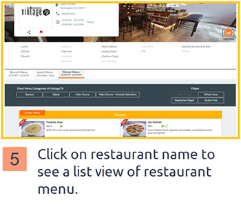 Click on restaurant name below each food photo to visit the associated restaurant page – list view, to browse menu by category listings